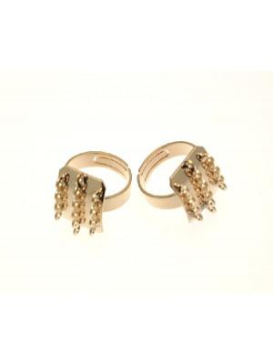 Base per anello, regolabile, charms con 2 barre laterali da 4 anelli più una centrale da 6 anelli