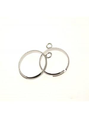 Base per anello, regolabile, charms ad 1 anello da 4 mm. con fascia sottile bombata