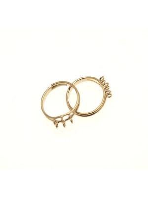 Base per anello, regolabile, charms con due file da 3 anelli piccoli