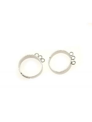 Base per anello, regolabile, charms a 3 anelli saldati singlarmente, fascia sottile