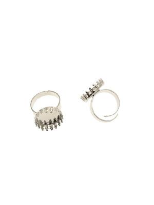 Base per anello, regolabile, con castone porta cabochon tondo da incollo, 16 mm.