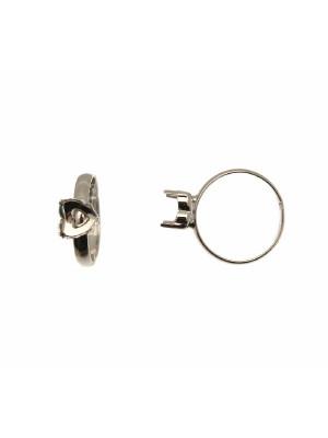 Base per anello, regolabile, a fascia sottile bombata e con un castone a forma di cuore per gemme 8,8x8 mm.
