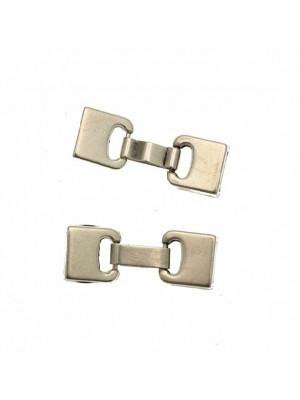 Chiusura a incollo con gancio a forma di due rettangoli (diametro foro da incollo 10 mm.), 12x38 mm.