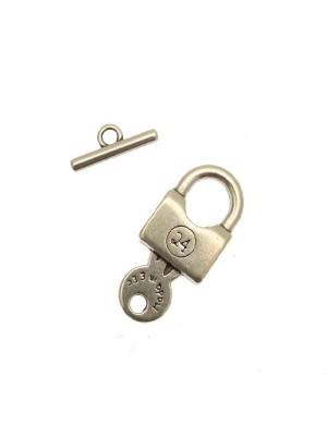 Chiusura a T a forma di lucchetto con chiave, 15x35 mm.