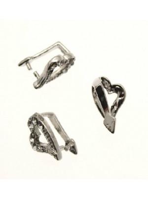 Ferma ciondolo a forma di cuore con strass crystal 12x8 mm.