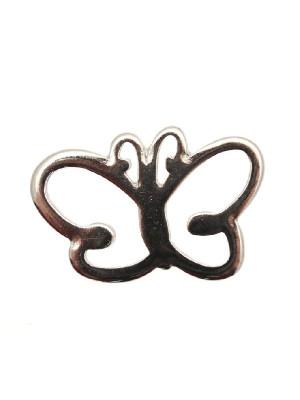 Ciondolo a forma di farfalla stilizzata piatta con antenne curve 35x20 mm.
