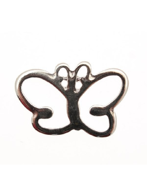 Ciondolo a forma di farfalla stilizzata piatta con antenne curve 43x25 mm.
