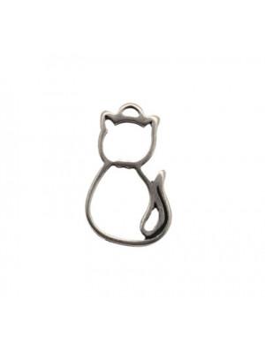Ciondolo a forma di gatto stilizzato, 16x25 mm.