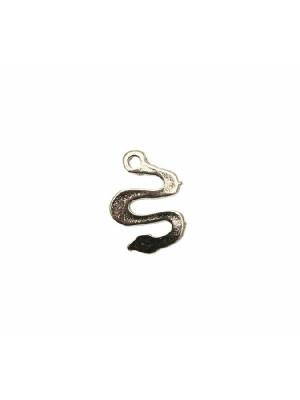 Ciondolo a forma di serpente, con foro sulla cosa, 12x16 mm.