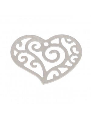 Ciondolo a forma di cuore, filigranato, 23x18 mm.