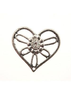 Ciondolo a forma di cuore rovesciato con 1 foro in alto e strass centrale crystal, 25x20 mm. Base argento antico