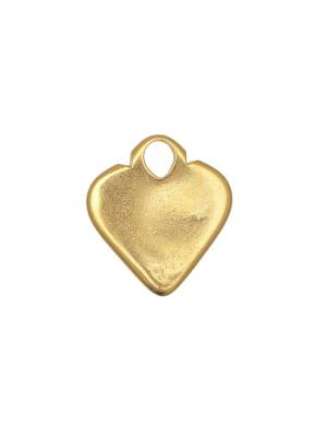 Ciondolo a forma di cuore pieno piatto liscio con un anello grande sopra 25x23 mm.