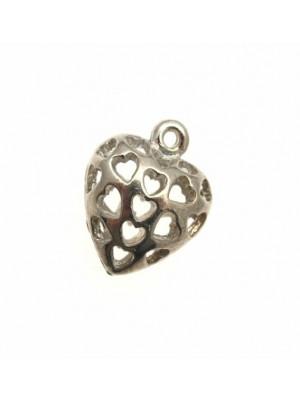 Ciondolo a forma di cuore bombato forato 15 mm.
