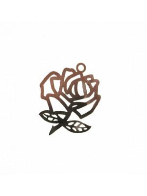 Ciondolo a forma di rosa sottile, grande, piatta e filigranata, 21x26 mm.