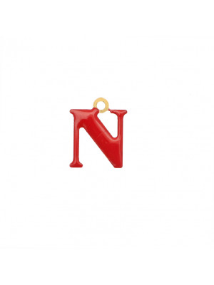 """Ciondolo a forma di lettera """"N"""", smaltato Rosso, 11x14 mm."""