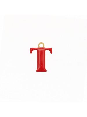 """Ciondolo a forma di lettera """"T"""", smaltato Rosso, 10x14 mm."""