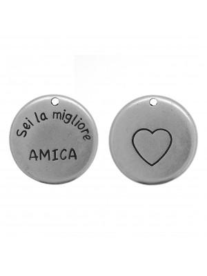 """Ciondolo medaglia con scritta """"Sei la migliore AMICA"""", diametro 24 mm."""