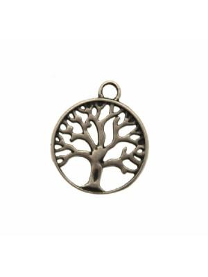 Ciondolo a forma di medaglia con disegno traforato ad albero e anello sopra, 19x23 mm.