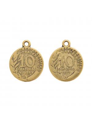 Ciondolo a forma di medaglia francese da 10 centesimi, 22x18 mm.