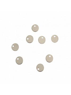Ciondolo a forma di medaglia tonda liscia, sottile, con un foro, 6 mm.