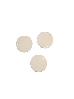 Ciondolo a forma di medaglia tonda liscia, sottile, con un foro, 15 mm.