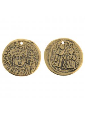 Ciondolo a forma di medaglia con incisioni di moneta antica, diametro 30 mm.