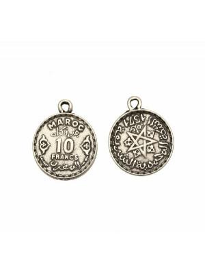 Ciondolo a forma di medaglia moneta da 10 franchi marocchini, con anello, 19x24 mm.