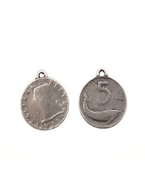 Ciondolo a forma di medaglia moneta da 5 lire 20 mm.
