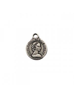 Ciondolo a forma di medaglia, tonda, con Regina Elisabetta II, 11x14 mm.