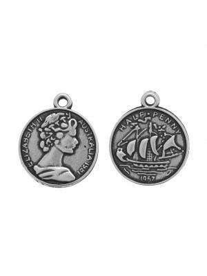 Ciondolo a forma di medaglia, disegno di centesimo inglese, 22x19 mm.