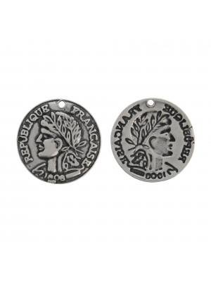 Ciondolo a forma di moneta della Repubblica Francese, diametro 23 mm.