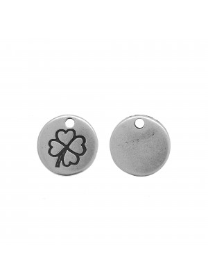Ciondolo a forma di medaglia tonda con quadrifoglio, diametro 12 mm.