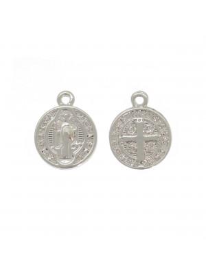 Ciondolo a forma di medaglia con santo su un lato e croce sull'altro, 13x10 mm.,