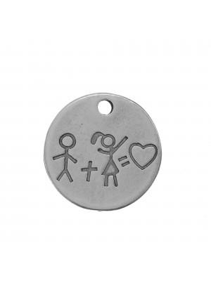Ciondolo Medaglia tonda con disegno di bambini, diametro 23 mm.