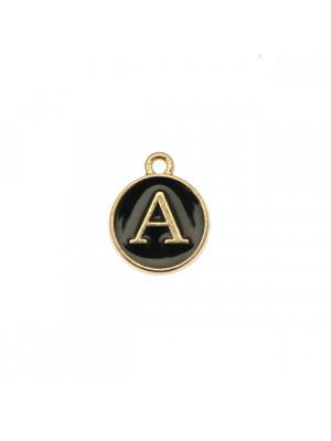 """Ciondolo a forma di medaglia tonda con lettera """"A"""", smaltata Nera, 12x14 mm."""
