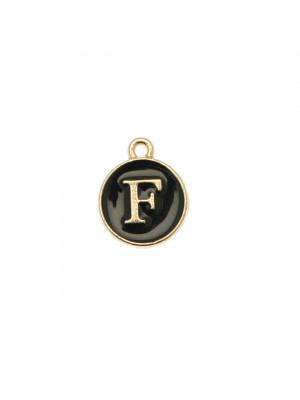 """Ciondolo a forma di medaglia tonda con lettera """"F"""", smaltata Nera, 12x14 mm."""