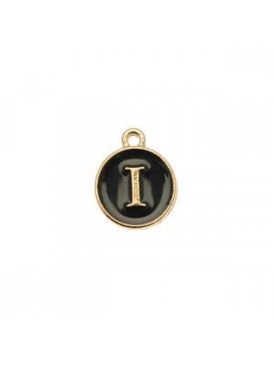 """Ciondolo a forma di medaglia tonda con lettera """"I"""", smaltata Nera, 12x14 mm."""