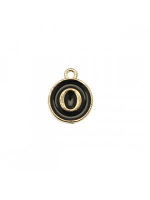 """Ciondolo a forma di medaglia tonda con lettera """"O"""", smaltata Nera, 12x14 mm."""
