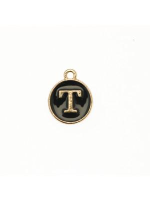 """Ciondolo a forma di medaglia tonda con lettera """"T"""", smaltata Nera, 12x14 mm."""