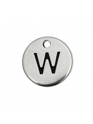 """Ciondolo a forma di medaglia tonda con lettera """"W"""", diametro 12 mm."""