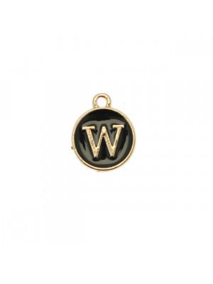 """Ciondolo a forma di medaglia tonda con lettera """"W"""", smaltata Nera, 12x14 mm."""