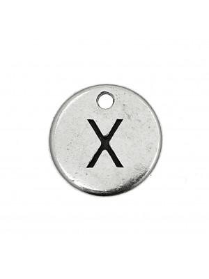 """Ciondolo a forma di medaglia tonda con lettera """"X"""", diametro 12 mm."""