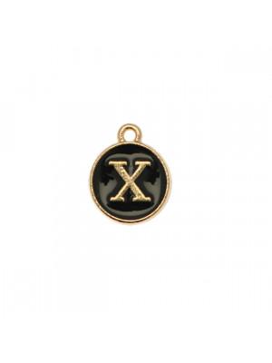 """Ciondolo a forma di medaglia tonda con lettera """"X"""", smaltata Nera, 12x14 mm."""