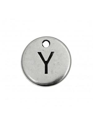 """Ciondolo a forma di medaglia tonda con lettera """"Y"""", diametro 12 mm."""