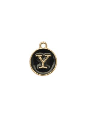 """Ciondolo a forma di medaglia tonda con lettera """"Y"""", smaltata Nera, 12x14 mm."""