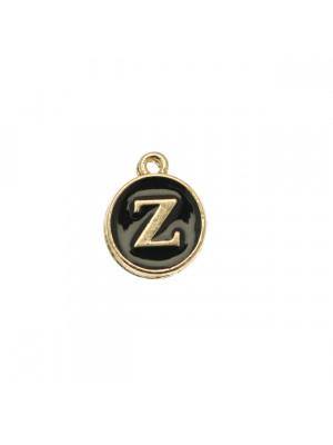 """Ciondolo a forma di medaglia tonda con lettera """"Z"""", smaltata Nera, 12x14 mm."""