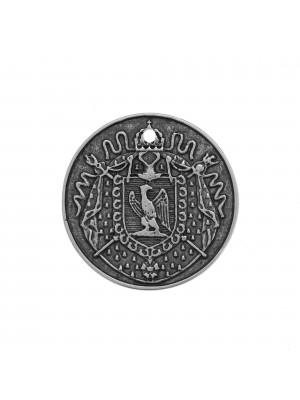 Ciondolo a medaglia con incisioni di vecchia moneta, diametro 25 mm.