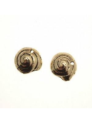 Ciondolo a forma di conchiglia tonda a spirale in punta con foro 11 mm.