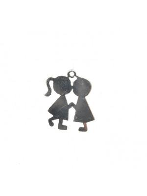 Ciondolo a forma di bambini che si baciano, 13x16 mm