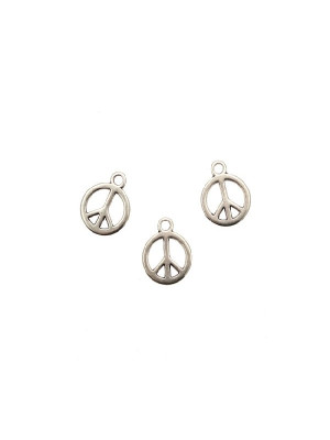 Ciondolo a forma di simbolo della pace piatto, 12x15 mm.